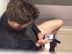 Guy caught masturbating in toilet