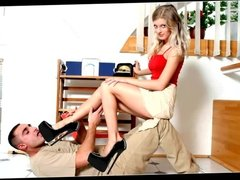 Beautiful blonde making trampling with 20cm high heels