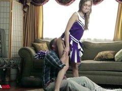 Cheerleader fucks daddy