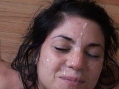 Giving the cute amateur girl a facial in slo-mo