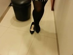 Black Patent Pumps with Pantyhose Teaser 5
