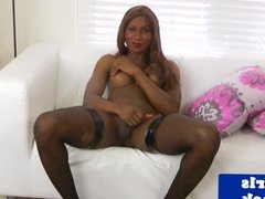 Black transsexual cum drenched