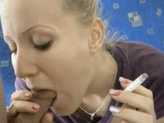 Blonde smokes his cock