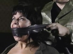 Extreme bondage for the hot woman in the dark