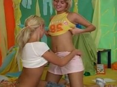 Girls meet each other in the room. Chastity from 1fuckdate.com