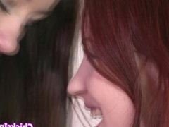 Redhead lesbian fingering and licking wet box