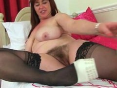 British mum Janey From LOOK4MILF.COM fucks her hairy pussy with a dildo