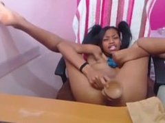 Black teen gags and fucks her dild. Sarah LIVE on 1fuckdate.com