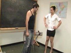 Punishment handjob in the classroom