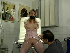 Small tit whore in fishnets and latex enjoying a BDSM session