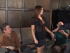 Hot young brunette sucks young studs cock while her husband watches
