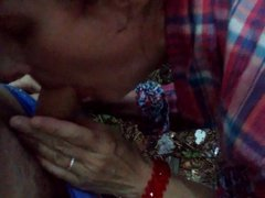 50 years milf get blowjob in Moscow forest 27.07.2015
