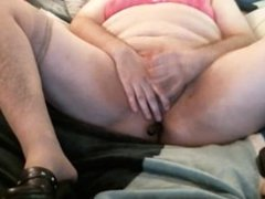 Sissy in pink jerking it