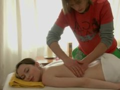Teen gets her hairy pussy massaged