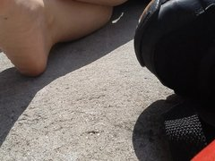 Candid glasses girl with very stinky feet soles put sucks