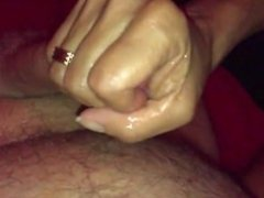 She makes him ejaculate on his belly