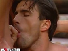 Hunks hot bareback threesome screwing in the outdoor