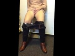 Very horny MILF masturbates until squirt sited on a chair.