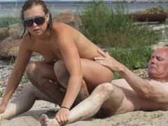 Slideshow: Grandpa with two teens in public park and beach