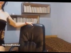 Webcam muscle girl flexing biceps and abs
