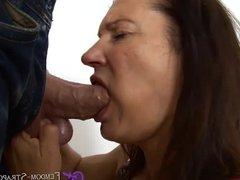 Femdom cock biting blowjob