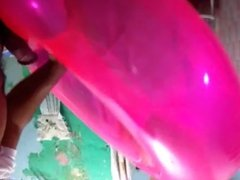 Fuck and cum on sexy pink inflatable swim ring