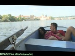 young couple having public sex in a boat