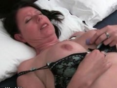 British mum Janey From SEXDATEMILF.COM fucks her hairy pussy with a dildo