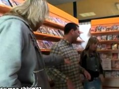 Blonde Slut Gets Load Of Cum Facial At A Video Store