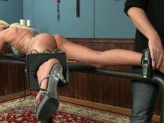 Blonde Dina tickled in bikiny