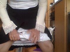 Transvestite granny with dildo