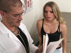 Hot Blonde In a Black Thong Fucked In Doctor's Office!