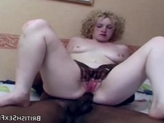 Pale white blonde anally fucked by black cock