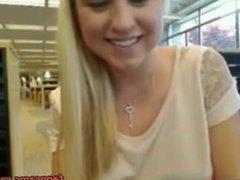 Cute Blonde Teen Public Library Dildo Squirt