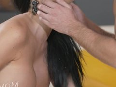 MOM British babe gets creampie as she orgasms riding her man