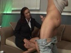 Mature brunette fucking a younger guy