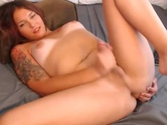 Tranny playing with cock and self sucking