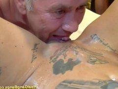 Nasty German/ Dutch hooker with nice fake tits & fake lips gets gangbanged
