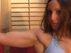 Teen girl flexing