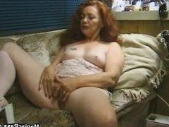 Longhaired granny enjoys sex