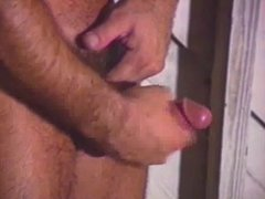 Homo dude jerking off dick