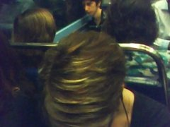 cute downblouse in Paris subway