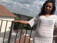 Ebony babe Mels From SEXDATEMILF.COM teasing public flashing and outdoor