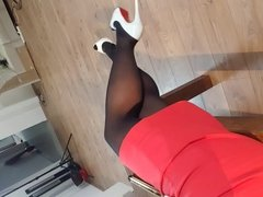 julie skyhigh shows her nylonlegs secretary outfit