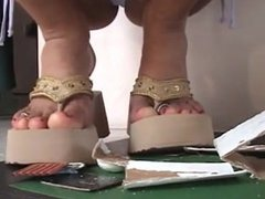 Latina giantess crushes a tiny town in chunky sandals
