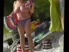 granny tits on the beach