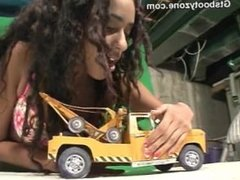 Giantess Nadia butt crushes a cop car and tow truck