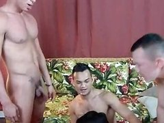 Naughty gays fucking in group orgy