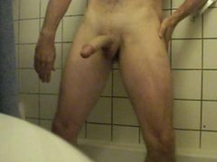 Jerking my big cock in the bathroom