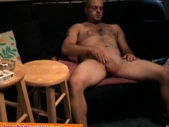 Amateur bear with glasses masturbating